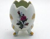 Vintage Egg Vase - Candel Holder - Tealight - Bisque Porcelain - Red Roses - Gold Trim -  Footed Egg Cup