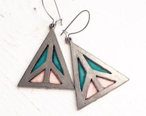 Vintage Peace Sign Earrings / Stained Glass Peace Symbols Dangly Pierced Hippie Summer Love Boho Festival Style Bohemian Triangle Geometric