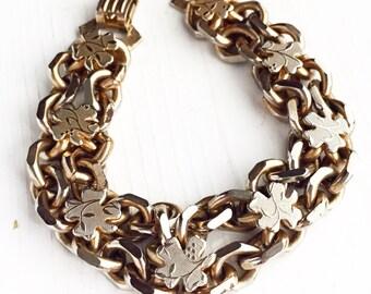 Vintage Shamrock Bracelet / Chunky Gold Chain Clover / Irish