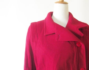 1980s Oversized Winter Coat Ladies Medium M Pure Wool Bright Crimson Red Slouchy 80s Indie Swing Coat