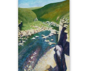 Sunny valley, Scalby Mills, Scarborough, summer day, original acrylic painting, 16 x 23 inches