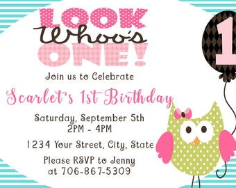 Customized Owl 1st Birthday Party Custom Invitation for DIY Printing and Design