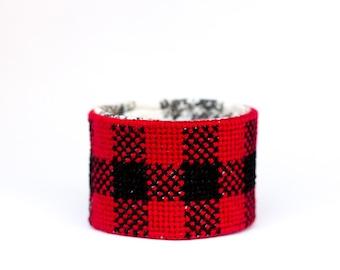 DIY Needlepoint Cuff Kit in Buffalo Plaid