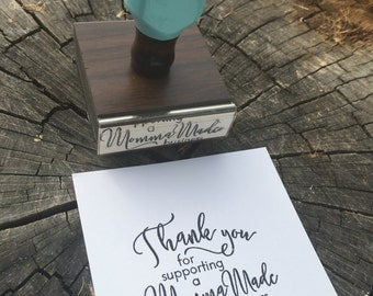 Thank you Stamp, Momma Made, Handmade Thank You, Small business, Robins Egg Blue, Blue Handle, Rubberstamp, Stationary Stamp, Rubber Stamp