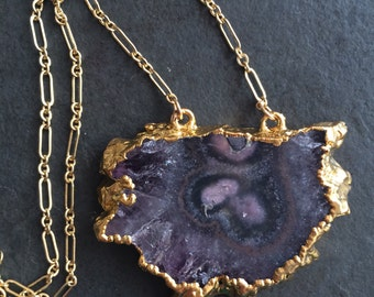 Amethyst Slice 22kt Gold Plated Necklace