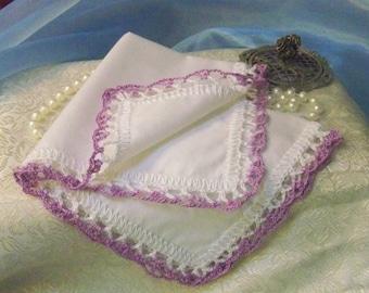 Lavender handkerchief, Hanky, Hankie, Hand Crochet, Lace, Monogrammed, Personalized, Embroidered, Ladies, Purple, Custom, Women's, Lacy