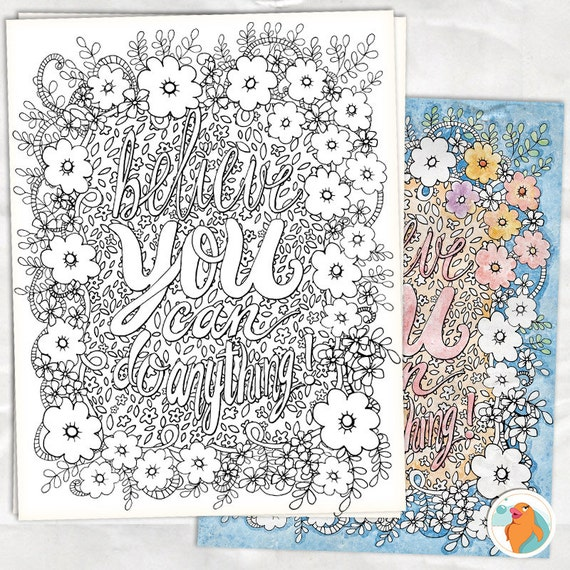Items Similar To Coloring Pages DIY Printable Colouring Page Hand Drawn Flowers PDF Amp JPG
