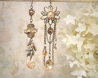Champagne Crystal Chandelier Earrings Asymmetric Champagne Earrings Champagne Teardrop Earrings Seashell Earrings Fall Autumn Harvest Colors