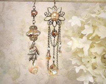 Sundara  Asymmetric Art Earrings Champagne Honey Cognac Copper Seashell Flower Earrings Leaf Romantic Autumn Harvest Earrings Fall Colors
