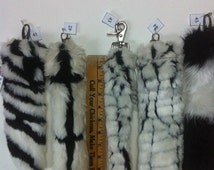 Faux Fur Tail Black and White Faux Fur - Clip on Fur Tail- Black and White Tail - One Faux Fur Tail -Black and white fur tail - Cosplay Tail