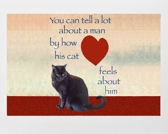 Black Cat Card for Men- Fathers Gift- Cat Crazy Man Card