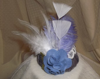 Lavender Valentine Fascinator- Lavender Button with Lace, Flower and Feathers- Headband- Mini Hat