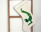 Christmas Stocking, yoga christmas elf, green hand painted on eco friendly organic hemp