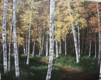 Autumn, Fall, Woods, Path, Tree, Birch, Forest, Original Landscape Oil Painting