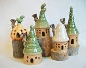 Garden Fairy House Assortment - You Choose 1 - or more - Houses - Speckled Stoneware with Chimneys - Handmade on Potters Wheel