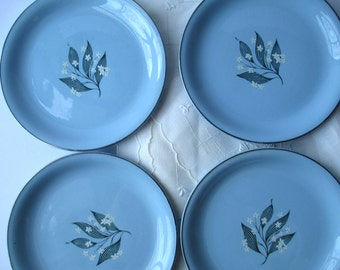 Vintage Homer Laughlin Skytone Blue Daisy Salad Plates Set of Four