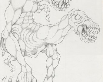"Original Mortasheen horror monster drawing - Skinless Nuckelavee ""Hestermoan"""