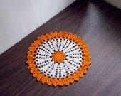 Autumn Decor Crochet Doily, Orange, Ecru, Lace Table Decoration, Fall Home Decor Accessory, Thanksgiving