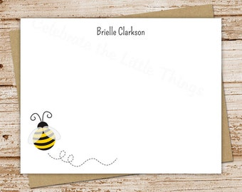 PRINTABLE bumble bee note cards, notecards . personalized . teacher personalized stationery . FLAT stationary . You Print