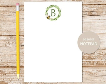personalized bee note pad . bee wreath . personalized notepad . initial . monogram . personalized stationery,  stationary