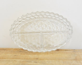 Vintage Fostoria American Clear Glass Relish Dish Oval 3 Divided Candy Dish