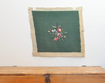 Vintage Finished Floral Needlepoint Embroidered Tapestry Footstool Pillow Cover