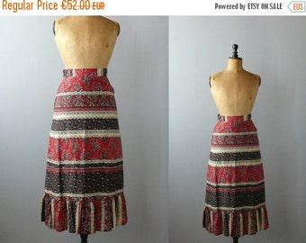 40% OFF SALE // Vintage 1970s maxi skirt. batik skirt. cotton boho long skirt