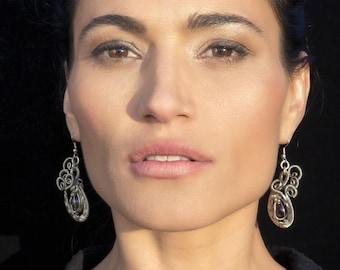 Red Garnet Earrings, Dangle Earrings, Steampunk Earrings, Wire Wrap Earrings, Gemstone Earrings, Long Earrings, Stone Earrings