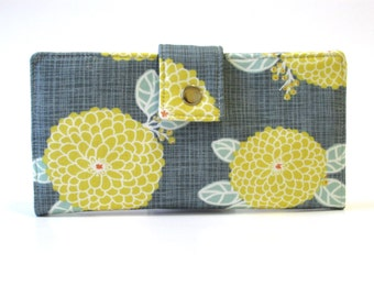 Handmade wallet for women - Grey with yellow dahlias clutch - Ready to ship - ID clear pocket - clutch purse - Gift ideas for her