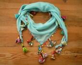 aqua scarf, triangular with beads and fabric pieces