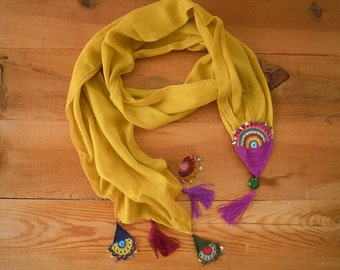 Cotton scarf with crochet embellishments, mustard, turkish oya
