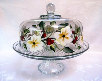 Cake dish, painted cake dish,cake dish with white flower and red berries,floral cake dish, covered cake dish, punch bowl