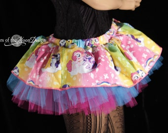 My Little Pony Peek a boo mini tutu skirt Adult costme play rave dress up party UV dance club -- You Choose Size -- Enchanted