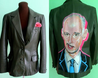 John Waters / hand-painted green leather jacket