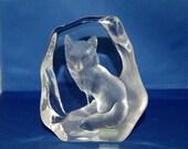 "Swedish artist Mats Jonasson Crystal Wildlife ""Signature Collection"" Bushy Tail Fox Paperweight / Sculpture ~ # 3383 ~Very Good ~ 8 of 42"