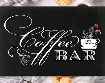 24x36 Chalkboard Coffee Bar Sign - Love is Brewing!