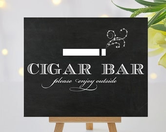 Chalkboard Cigar Bar Sign with Sparkle Smoke Effect - Printable Cigar Bar Sign - 8x10 and 5x7 -  Instant Download