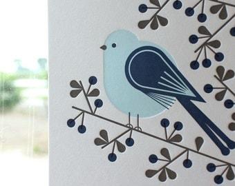 Long-tailed tit - Letterpress Postcard