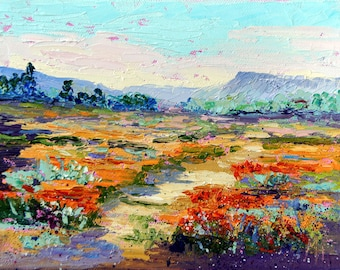 "Impressionist oil painting, French Countryside, - Wildflower Walk Provence Landscape Knife painting, Oil, ca.6x8"", by Marion Hedger"