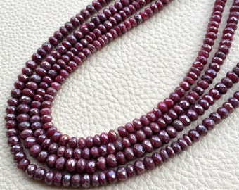 Brand New, 8 Inch Strand, Mystic Natural RUBY Faceted Rondelles,5mm Amazing Item at Low Price