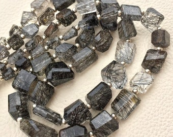 New Arrival, Amazing Natural Ceylon Black RUTILATED Quartz Step Cut Faceted Nuggets ,10-14mm,8 Inch Strand,Amazing Rare Item
