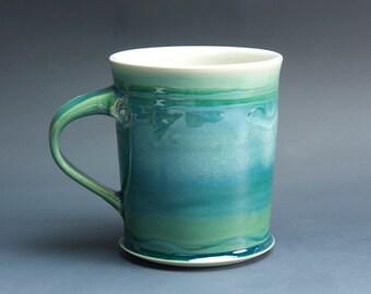 Pottery coffee mug, ceramic mug, stoneware tea cup jade green 20 oz 3529