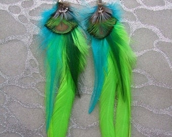 HALF OFF VALENTINES Sale Feather Earrings - Long Lime Green Saddle Feathers with Turquoise & Gold Peacock and Rooster Feathers