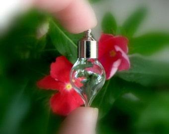 Large Teardrop Vials w/ screw caps (miniature/drops/vials/bottles/empty/clear/small/little/metal/screws/top/wishing/hanging/8mm/)