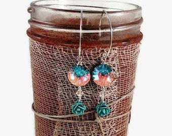 Cosmic Turquoise Rose, Button Rose Earrings, Swarovski Round, Enamel Roses, OOAK Earrings