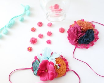 Made For Each Color - ruffle and rosette headband in orange, teal pink and navy