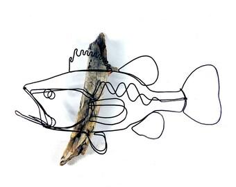 Bass Wall Art, Bass Wire Sculpture, Fish Art, Fish Wallhanging, Fish Wire Art