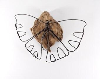 Butterfly Wire Sculpture, Minimal Wire Art, Wire Wall Piece, Wire Tabletop Sculpture, 252498376