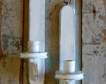 Set of 2 White Wall Sconces Wooden Distressed