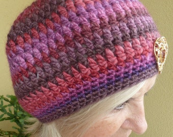 Bohemian Clothing Pink Purple Crochet Hat Original Unique Women Winter Whimsical Bauble
